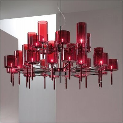 Spillray 30-Light Shaded Chandelier Shade Color: Red