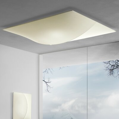 Nelly Straight 1-Light Flush Mount Size / Bulb Type: Large / 1 x 55 W 2GX13, Color: Ivory Pattern
