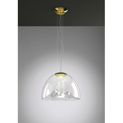 Mountain View 1-Light Bowl Pendant Base Finish: Gold, Shade Color: Crystal