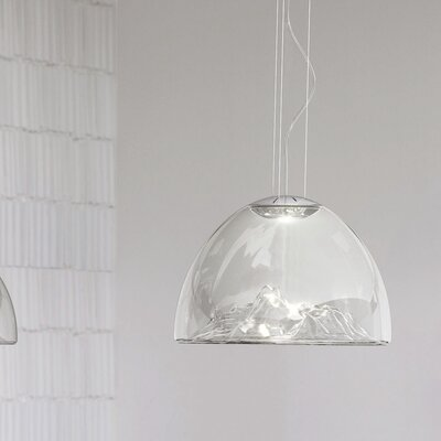 Mountain View 1-Light Bowl Pendant Base Finish: Chrome, Shade Color: Crystal