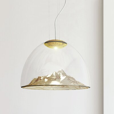 Mountain View 1-Light Bowl Pendant Base Color: Gold, Shade Color: Armber