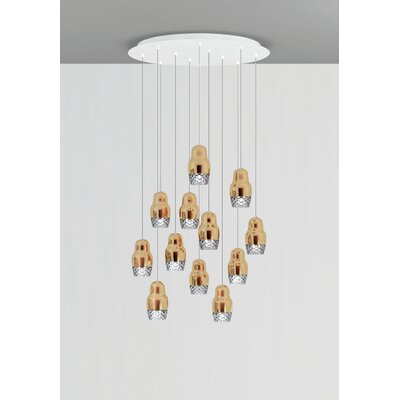 Fedora 12-Light Cascade Pendant Shade Color: Rose Gold