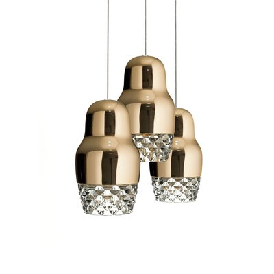 Fedora 3-Light Cascade Pendant Shade Color: Rose Gold