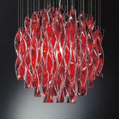 Avir 4-Light Semi Flush Mount Color: Red Glass / Polished Steel