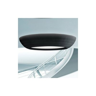 Bell 1-Light Flush Mount Color: Red Shade, Size: 7.63 H x 35.38 W, Bulb Type: Fluorescent