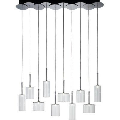 Spillray 10-Light Cascade Pendant Finish: Red