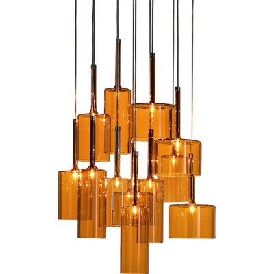 Spillray 12-Light Cascade Pendant Finish: Orange