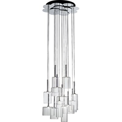 Spillray 12-Light Cascade Pendant Finish: Red