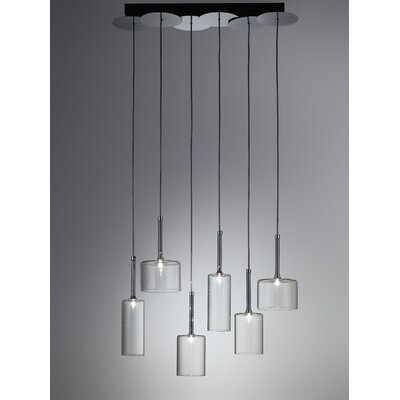 Spillray 6-Light Cascade Pendant Finish: Red