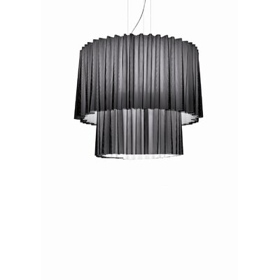 Skirt 2 Tier Drum Pendant with Black Netting (Fluorescent) Size: Large