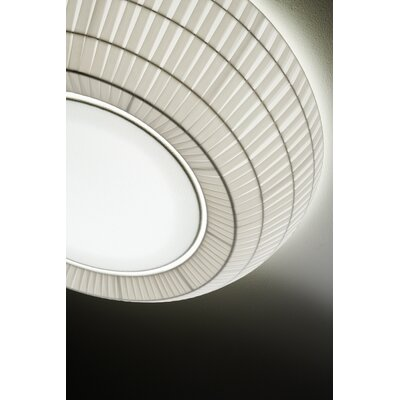 Bell 1-Light Flush Mount Color: White Shade, Size: 7.63 H x 35.38 W, Bulb Type: Fluorescent