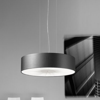 Skin Single Tier Drum Pendant (Fluorescent) Size: 122 H x 27.5 W, Finish: Brown with White Diffuser