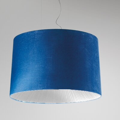 Velvet Drum Pendant (Fluorescent) Color: Blue Shade with White Diffuser, Size: 128 H x 19.63 W