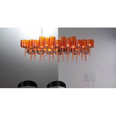 26-Light Kitchen Island Pendant Shade Color: Orange