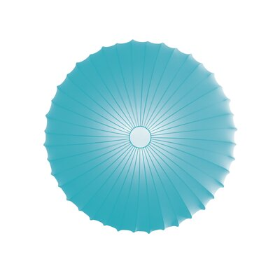 Muse 3-Light Flush Mount Size: Large, Color: Light Blue, Bulb Type: Fluorescent/Incandescent