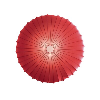 Muse 3-Light Flush Mount Size: Extra Large, Color: Red, Bulb Type: Fluorescent/Incandescent