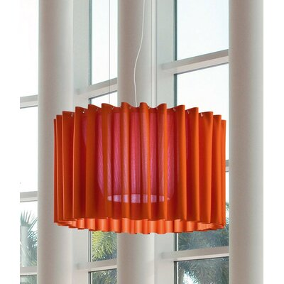 Skirt Single Tier Drum Pendant Finish: Orange, Bulb Type: Fluorescent, Size: 141.75 H x 39.38 W x 39.38 D