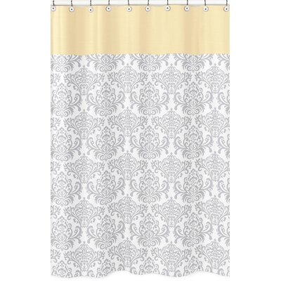 Avery Cotton Shower Curtain Color: Yellow and Gray