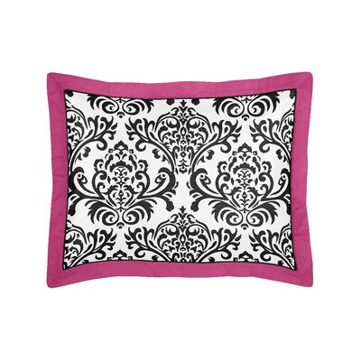 Isabella Pillow Sham Color: Hot Pink, Black and White