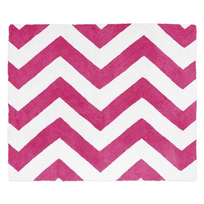 Chevron Hot Pink / White Area Rug