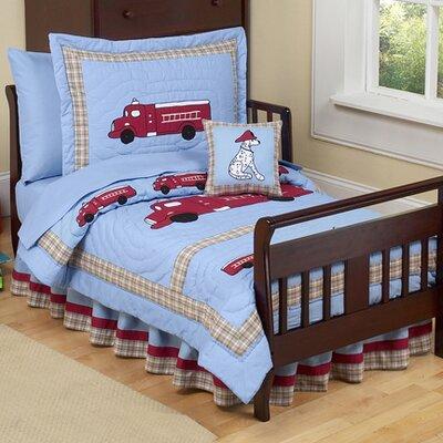 Sweet Jojo Designs Frankie's Firetruck 5 Piece Toddler Bedding Set Firetruck-Tod