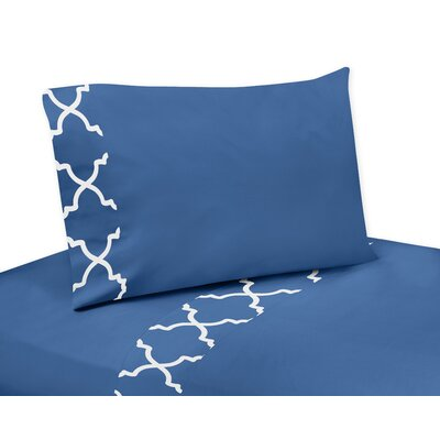 Trellis Sheet Set Size: Queen, Color: Blue and White