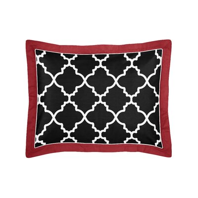 Trellis Sham Color: Red/Black