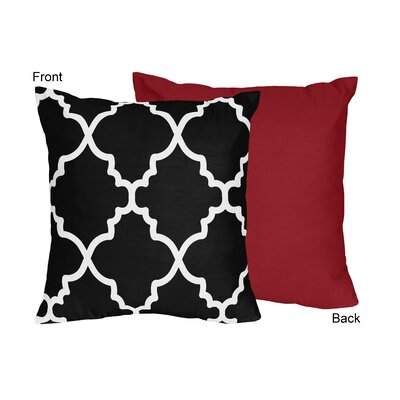 Trellis Throw Pillow Color: Red and Black