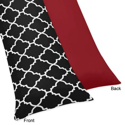 Trellis Body Pillow Case Color: Red/Black