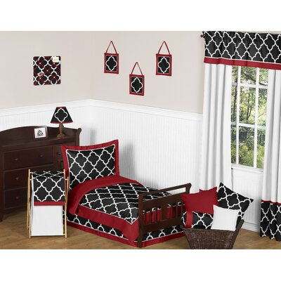 Trellis 5 Piece Toddler Bedding Set Color: Red and Black Trellis-RD-BK-Tod