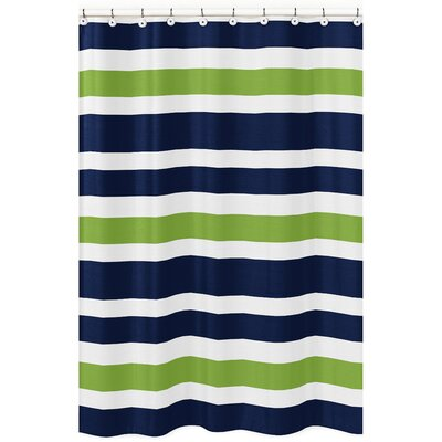 Stripe Brushed Microfiber Shower Curtain Color: Blue/Green