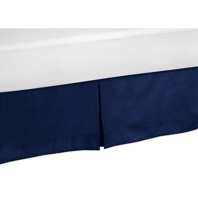 Solid Navy Blue Bed Skirt Size: King