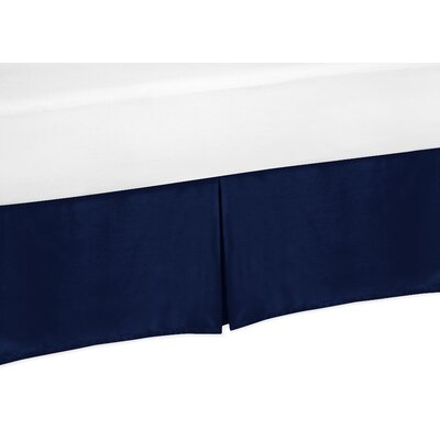 Chevron Thread Count Bed Skirt Color: Solid Navy Blue, Size: Queen