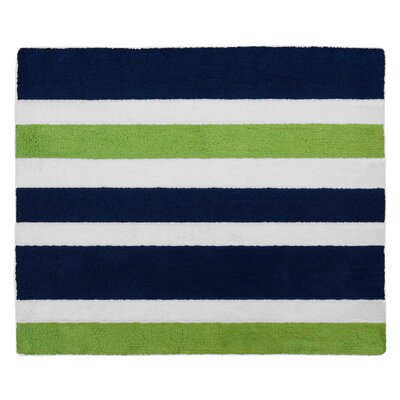 Navy Blue and Lime Green Stripe Bath Rug