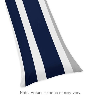 Stripe Body Pillowcase Color: Gray/Navy Blue