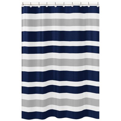 Stripe Brushed Microfiber Shower Curtain Color: Gray/Navy Blue