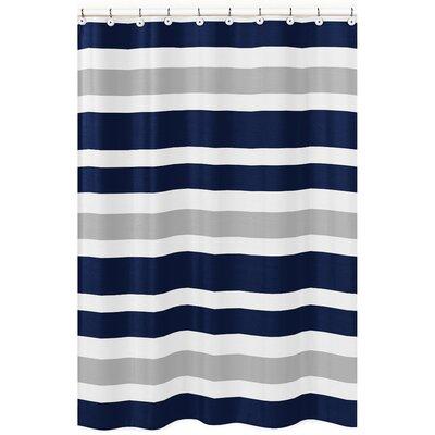 Stripe Brushed Microfiber Shower Curtain Color: Gray/Navy Blue