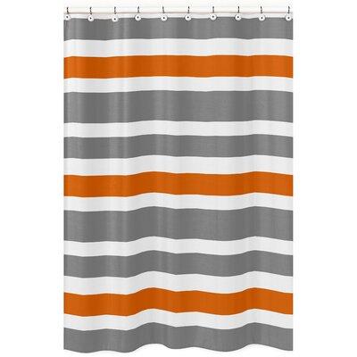 Stripe Brushed Microfiber Shower Curtain Color: Gray/Orange