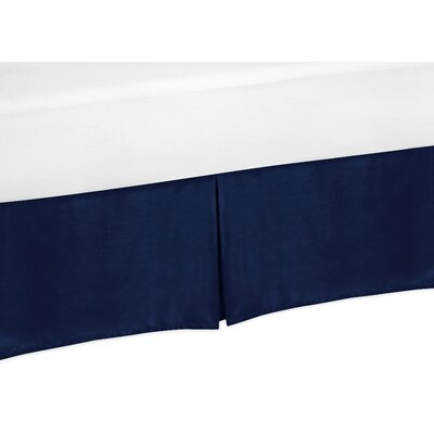 Stripe Collection Bed Skirt Color: Navy Blue, Size: Queen
