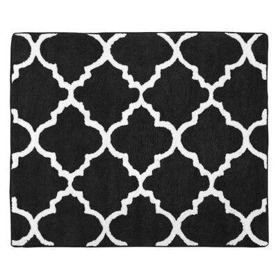 Trellis Floor Rug Color: Black and White