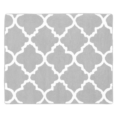 Trellis Floor Rug Color: Grey and White