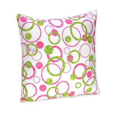 Circles Pink Cotton Throw Pillow