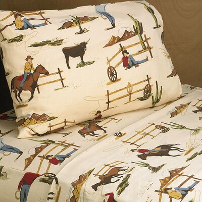 Wild West Cowboy 200 Thread 100% Cotton Sheet Set Size: Queen