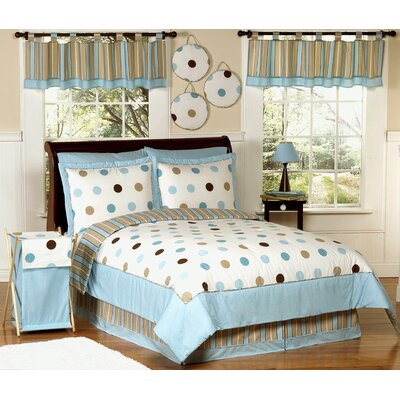 Blue and Chocolate Mod Dots Kid Bedding Collection