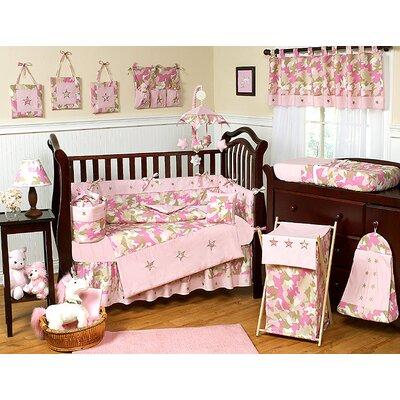 Pink and Khaki Camo Crib Bedding