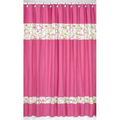 Circles Pink Cotton Shower Curtain
