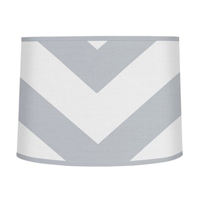 Chevron 10 Brushed Microfiber Drum Lamp Shade Color: Gray / White