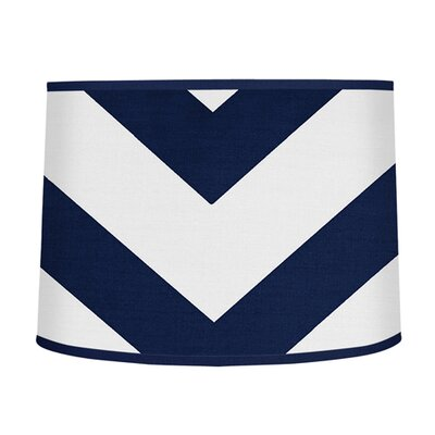 Chevron 10 Brushed Microfiber Drum Lamp Shade Color: Navy Blue / White