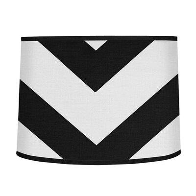 Chevron 10 Brushed Microfiber Drum Lamp Shade Color: Black / White