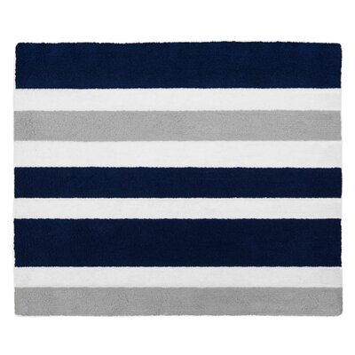 Stripe Hand-Tufted Navy Blue / Gray Area Rug